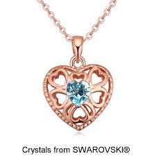 heart pendant swarovski necklace images Women 39 s rose gold color pendant necklaces made with swarovski jpg