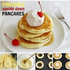 pineapple upside down pancakes with vanilla créme sauce