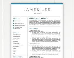 Free Resume Templates For Download Resume Template Etsy