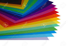 color paper various color paper stack like a rainbow isolated on white stock