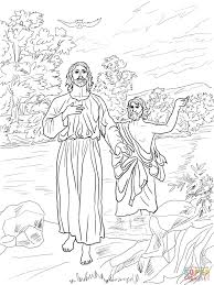 jesus baptized john baptist coloring free printable