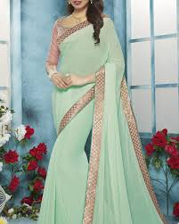 shop fancy faux chiffon saree in pista colour for parties from