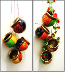 Kitsch Home Decor by Hand Painted Terracotta Hanging Set Of 4 For Home Decor