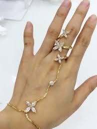 bracelet with ring gold images Gold plated flower crystal cz zircon women bridal ring chain jpg