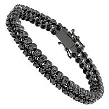 black bracelet diamond images Luxurman black diamond bracelets 2 row mens diamond tennis jpg