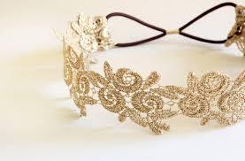 gold headband metallic gold flower lace elastic headband gold elastic