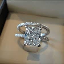 love love love the cut one day my hair will look like this cut but i don t like the ugly 2 00 ct cushion cut pave round eternity diamond engagement ring h