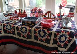 Fourth Of July Tablecloths by Bargain Decorating With Laurie Red White And Blue Snack Table