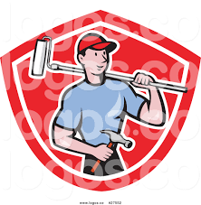 royalty free vector logo of a cartoon white male handyman with a