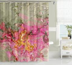 contemporary shower curtain pink golden yellow sage gray green