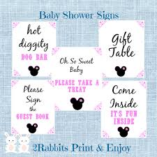 5 printable minnie mouse baby shower table signs the signs