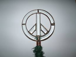 rustic peace sign christmas tree topper clear beveled glass