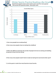 winter sports practice reading a bar graph bar graphs winter