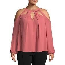 shoulder cut out blouse bold elements sleeve y neck woven blouse plus jcpenney