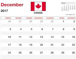 december 2017 calendar canada printable free template in ms excel