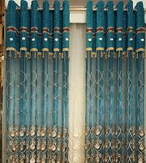 Blue Sheer Curtain Luxury Embossed Embroidered Yarn Peacock Blue Sheer Curtain