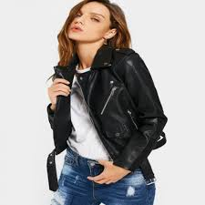 Buy Faux Leather Jackets Women Zipper Pockets Belted Soft