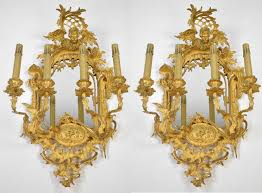 Candelabra Wall Sconces Large Pair French Rococo Mirrored Sconces C1880 Ornate Antique