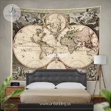 antique world map wall tapestry vintage world map wall hanging