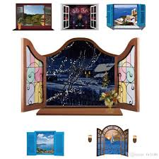 3d european scenery window wall stickers home decor mediterranean