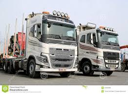 volvo new truck two modern volvo fh logging trucks editorial stock photo image
