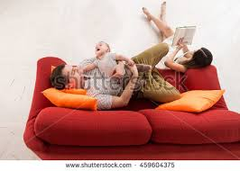 The Red Sofa Pretty Little Boy Lying On Stock Photo 495719737 Shutterstock