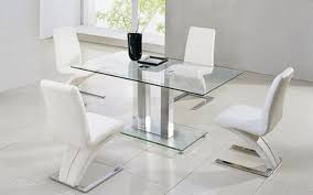 Glass Dining Room Table And Chairs by Actona Glass Dining Table With 4 Designer U0027z U0027 Chairs In White Faux