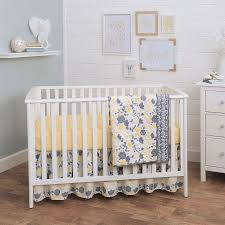 balboa baby 3 piece baby crib bedding set yellow and grey