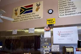 you can find south african sausages and biltong at this european inside european deluxe sausage kitchen danny jensen