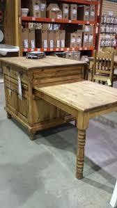 Butcher BlockIsland With Slide Out Table And Drop Down Leaf - Kitchen pull out table