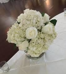 White Hydrangea Centerpiece by White Hydrangea And White Rose Centerpiece White Flower