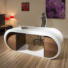 Designer Desk by Large Modern Designer Desk Work Station White Gloss Glossy Walnut