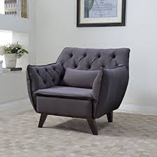 Amazoncom Mid Century Modern Tufted Linen Fabric Living Room - Living room accent chair