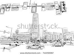 sketch cityscape india show transportation moto stock vector