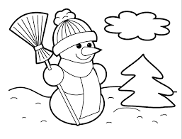 new christmas snowman coloring page for kids coloring point