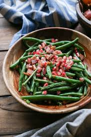 green bean recipes for thanksgiving pan fried bacon green beans with pomegranate seeds the roasted root