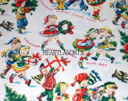 vintage christmas wrapping paper vintage christmas wrapping paper etsy