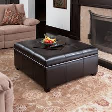 Living Room Table With Storage Spacious Espresso Leather Storage Ottoman Coffee Table W Tufted