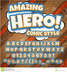 creative high detail comic font hero style of comics pop art