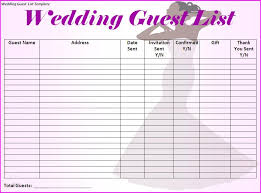 printable wedding planner wedding guest list template printable on wedding event planning