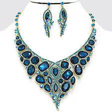 zircon blue necklace images Teal blue zircon ab crystal rhinestone formal evening bridal jpg