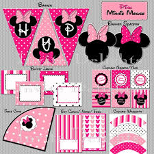 minnie mouse birthday printable party package collection