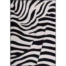 ottomanson ultimate shaggy animal print zebra design white and