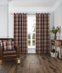 harris woven check eyelet curtains red sewing pinterest