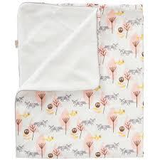couverture coton bio couverture double face pour bébé renard rose en coton bio