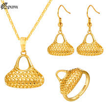 gold necklace with earrings images Buy bilum bag jewelry set for women gold color jpg