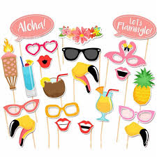flamingo hawaii themed summer baby shower photo booth props summer