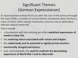 literature themes in the 1920s what is german expressionism