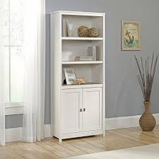 sauder harbor view bookcase with doors antique white hayneedle