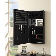 amazon com coaster wall mount jewelry armoire mirror in black